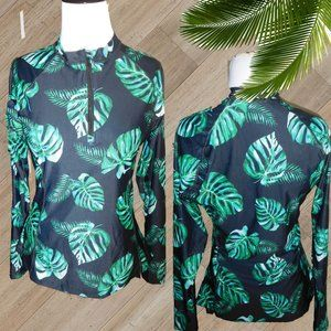 NWT /BLACK GREEN LEAF LONG SLEEVE 2 PEICE SWUMSUIT